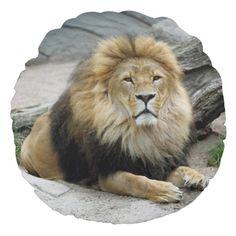 "#Lion_2014_1001 #Round_Pillow #JAMFotoWorms #Zazzle.com - 16"" - Brushed Polyester - 39.95 $ - Grade A Cotton - 46.95 $"