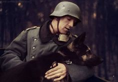 German Soldier and Dog colored by Julia Koterias