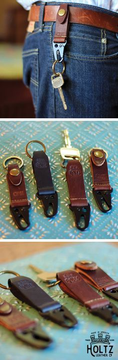 The Henry Fine Leather Keychain is handmade right here in our shop with the…