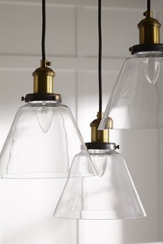 Buy Ethan Allen's Kinsey Cone Three-Light Pendant or browse other products in PENDANTS. Modern Farmhouse Style, Farmhouse Chic, Farmhouse Design, Fresh Farmhouse, Glass Pendant Light, Pendant Lighting, Foyer Lighting, Chandeliers, Bright Homes