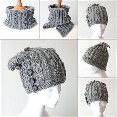 KNIT Pattern Hat and Cowl 2 in 1 (pdf file)