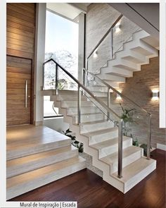 Modern Staircase Design Ideas - Search inspirational photos of modern stairs. - Home Design Home Stairs Design, Railing Design, Interior Stairs, Modern House Design, Staircase Design Modern, Luxury Staircase, Staircase Railings, Stairways, Staircase Ideas