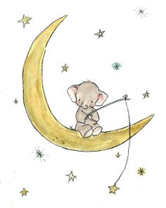 Children's Art --- Starfishing Elephant -- Archival Print. Maybe I'll put this in my kid's room someday. It's just so cute!