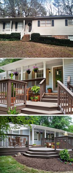 """Top: before; middle & bottom: after. The tiny front porch & narrow, steep stairs are gone. Designer John Gidding designed & built an extended deck across the front of the house. The new deck includes multiple """"rooms"""" that allow for plenty of space for relaxing and entertaining."""