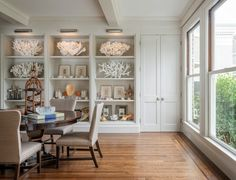 Sutro Architects - dining rooms - Benjamin Moore - Baby Fawn -look at those huge sea corals!!!