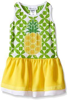 11fa79f8689 Bonnie Jean Little Girls' Toddler Sequin Pineapple Summer Dress, Yellow,  Sequin printed pineapple print drop waist dress