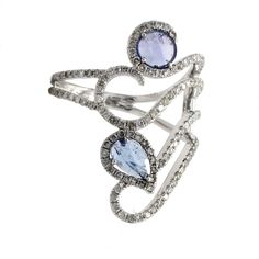 Spiral Tanzanite Ring with Diamonds in White Gold | Meira T Boutique