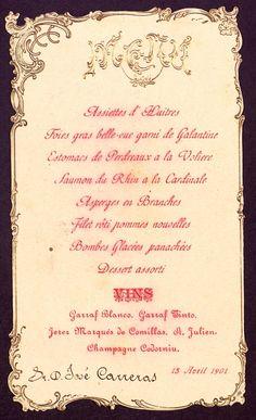 Menú, s.n., s.l., 15 d'abril de 1901