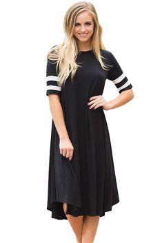Sexy Striped Half Sleeves O Neck Flowy Jersey Dress in Black