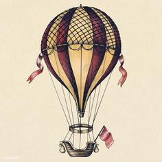 Illustration about Hot air balloon vintage style illustration. Illustration of drawing, style, flying - 114097270 Hot Air Balloon Drawing, Balloon Tattoo, Balloon Art, Vintage Art, Ballon Drawing, Hot Air Balloons Art, Air Balloon Tattoo, Balloon Illustration, Balloon Painting
