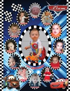 Cars Monthly Collage   The best way to remember your child's first year is to make a photo collage of their monthly photos. This is the perfect memory to share with your family & friends on your child's special first birthday!  I also offer CUSTOM collages with ANY THEMES at all!  Quick turn around time and I guarantee you will LOVE IT!  Copyright © 2015 All rights reserved Anna Roze Design