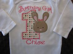First Birthday Bunny Onesie or TShirt by Bethysboutique on Etsy, $20.00