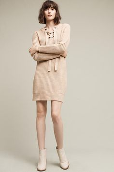 Slide View: 1: Lace-Up Sweater Dress