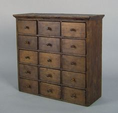 apothecary cabinet, early 19th c., with 15 drawers,