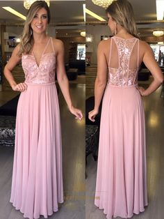 NextProm.com Offers High Quality Pink Illusion Sleeveless V Neck Lace Bodice Chiffon Long Prom Dress,Priced At Only USD $125.00 (Free Shipping)