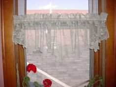 Lace Valance Curtain Panel Pale Green Floral Swiss Polka Dot M151 13 by 60 inch Seller florasgarden on ebay