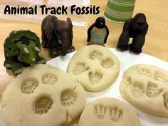 Awesome homemade playdough recipe. Make animal track fossils out of your kiddos favorite toys! www.craftsforkiddos.com