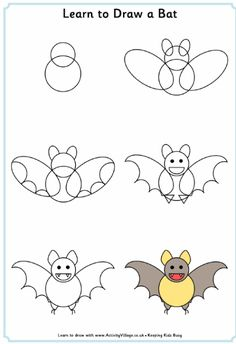 Learn to draw a bat printable for kids