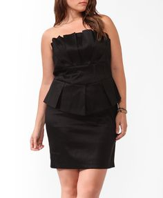 Taffeta Strapless Peplum Special Occasion Dress | FOREVER21 PLUS - 2000043878 $32.80