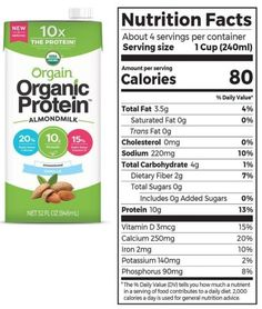Orgain Organic Plant-Based Protein Almond Milk Review Best Almond Milk Brand, Milk Brands, Vegan Milk, Organic Protein, Organic Plants, Plant Based Protein, Trans Fat, Saturated Fat, Serving Size