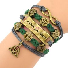 "I'm allergic to the metal used, but I like it.  ""Follow your heart - Irish/Celtic Clover Bracelet"""