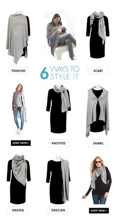 1 Nursing Shawl - 6 Ways to style it