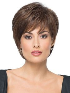 Women Short Wigs 2018 Straight Boycuts Brownish Black Synthetic Hair Wigs With Side Swept Bangs \N Short Grey Hair, Short Hair With Layers, Brunei, Trinidad Und Tobago, Hair Extensions For Short Hair, Short Human Hair Wigs, Side Swept Bangs, Hair Blog, Wig Hairstyles