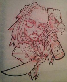 Capt Jack Sparrow new school tattoo by Chris Akins @ Area 51 Tattoo