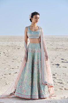 15 Anita Dongre Lehenga Designs With Prices - SetMyWed Designer Bridal Lehenga, Bridal Lehenga Choli, Indian Lehenga, Indian Gowns, Indian Attire, Blue Lehenga, Lehenga Blouse, Bollywood Lehenga, Sabyasachi