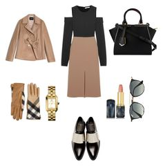 """A day at work"" by samartrlala on Polyvore featuring TIBI, Givenchy, Burberry, Max&Co., Fendi, Ray-Ban, Tory Burch and Oribe"