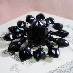Antique Victorian Mourning Pin Brooch French Jet by WickedDarling, $20.00