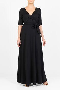I <3 this Ponte knit maxi wrap dress from eShakti