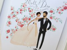 California Dreamin' Wedding Portrait by JollyEdition on Etsy, $350.00, lovely detail work and portraits that pride themselves on painting personality not just likeness.