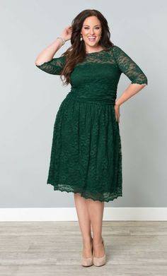 Scalloped Luna Lace Dress in Green Ivy | Stylish Plus - Plus Size Clothing Australia