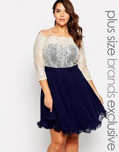 Chi Chi Plus | Chi Chi London Plus Sweetheart Neckline Lace Prom Dress With 3/4 Sleeves at ASOS