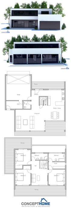 Put master and master bath in garage, ignore second story, and add two bed rooms and baths attached by breezeway as a dog trot house. Two Story House Plans, New House Plans, Modern House Plans, Modern House Design, Cool Dog Houses, Contemporary House Plans, Home Design Plans, Future House, Planer