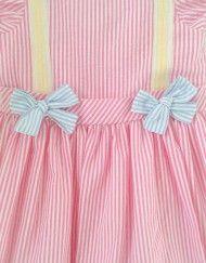 Runaway Pony Girls Pink Seersucker Vintage Inspired Dress | Pecan Puff