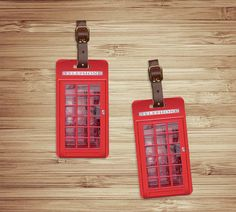 Luggage Tag Set British Red Phone Booth , Personalized AddressCustom Luggage Tags - Metal. via Etsy.