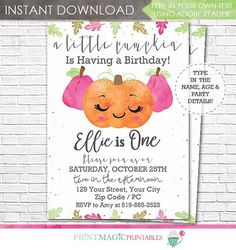 Pink Pumpkin Birthday Party Invitation  A Little by printmagic
