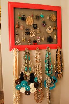 Homemade jewerly organizer made from a beautifully framed