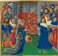 Titre :  « Le Livre des faiz monseigneur saint Loys », composé à la requête du « cardinal de Bourbon » et de la « duchesse de Bourbonnois ».  Date d'édition :  1401-1500  Français 2829  folio 17r