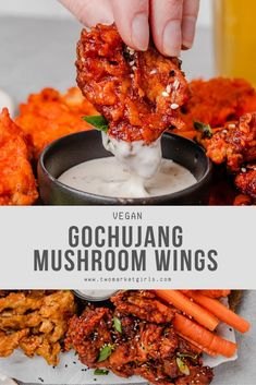 Crispy, meaty vegan wings made with the magical oyster mushrooms smothered in one of three delicious vegan wing sauces. These Vegan Mushroom Wings are the recipe your game day was missing. Vegan Foods, Vegan Dishes, Vegan Vegetarian, Vegetarian Recipes, Vegan Snacks, Healthy Recipes, Vegetarian Wings, Health Food Recipes, Vegetarian Sandwiches