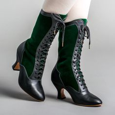PRE-ORDER Camille Edwardian Boots (Black/Green)(1890-1930) – American Duchess Tall Boots, Lace Up Boots, Shoe Boots, Leather Collar, Calf Leather, Black Leather Shoes, Black Boots, Edwardian Shoes, Calf Muscles