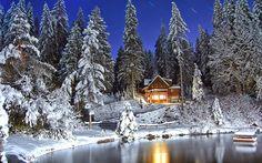 Noapte de iarna - Poze Imagini Desktop