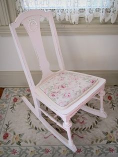 Precious Pink Antique Rocking Chair with Rachel Ashwell Fabric