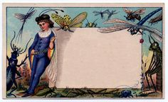 Amazing Whimsical Fairy & Insects Trade Card - Label - The Graphics Fairy