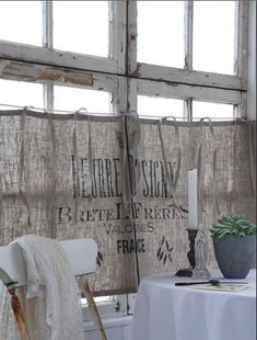 Cafe curtains from vintage grain sacks