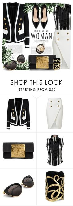 """Classy and Fabulous 1"" by olga1402 on Polyvore featuring Balmain, Dareen Hakim, JJ Park, Chanel, Yves Saint Laurent, blackandwhite and classy"
