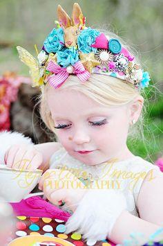 Funky Tiara, bunny tiara, bold colors