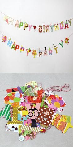 "[Visit to Buy] 1Set Funny ""Happy Party/Happy Birthday""Paper Bunting Banner Garland Children's Birthday Party Decoration Baby Shower Decoration #Advertisement"